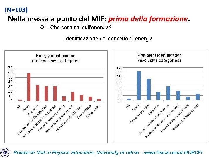 (N=103) Nella messa a punto del MIF: prima della formazione. Q 1. Che cosa
