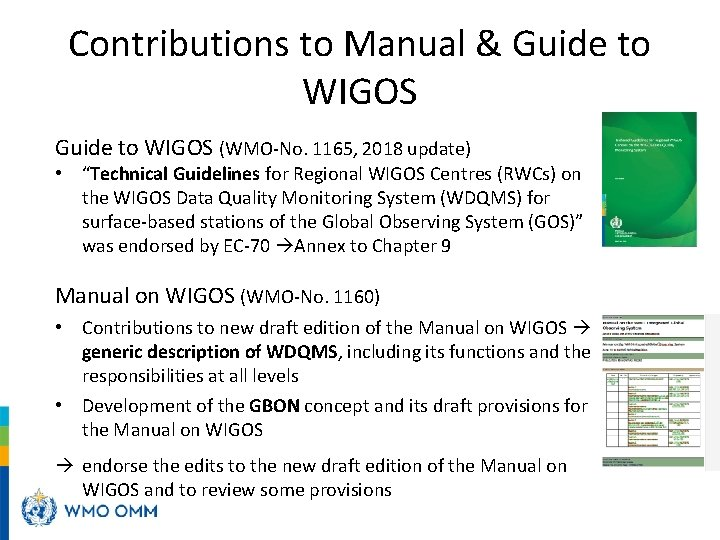 """Contributions to Manual & Guide to WIGOS (WMO-No. 1165, 2018 update) • """"Technical Guidelines"""