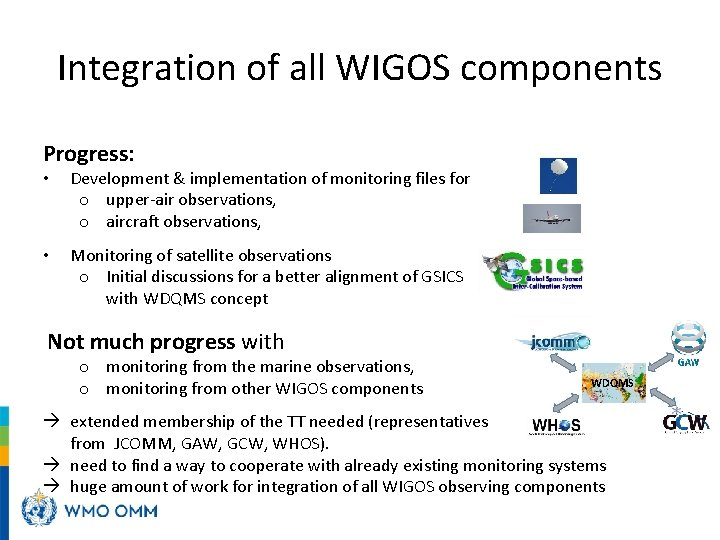 Integration of all WIGOS components Progress: • Development & implementation of monitoring files for
