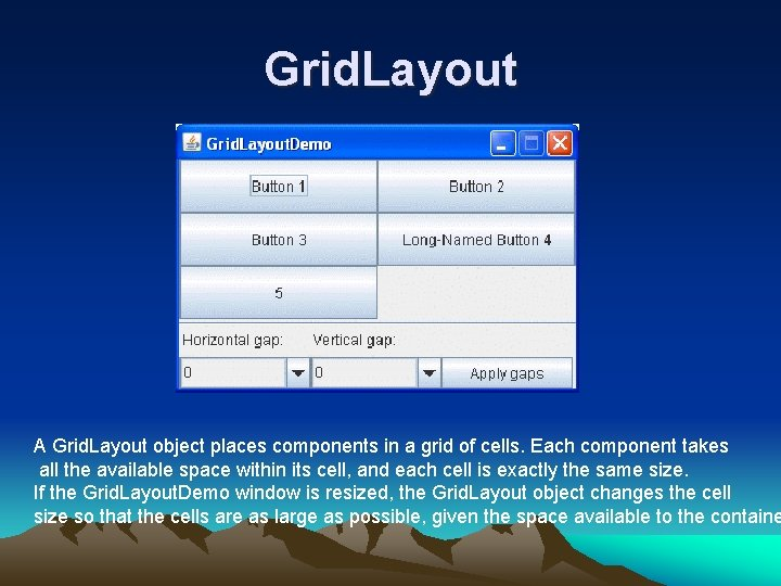 Grid. Layout A Grid. Layout object places components in a grid of cells. Each
