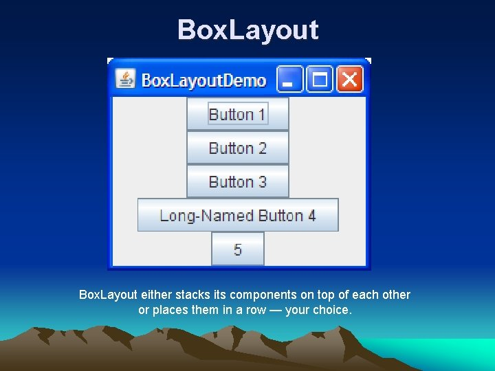 Box. Layout either stacks its components on top of each other or places them