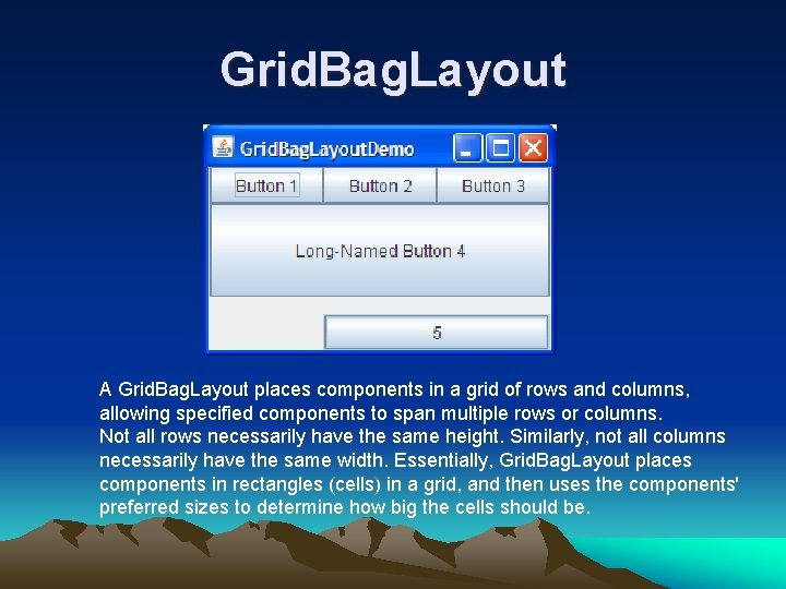 Grid. Bag. Layout A Grid. Bag. Layout places components in a grid of rows