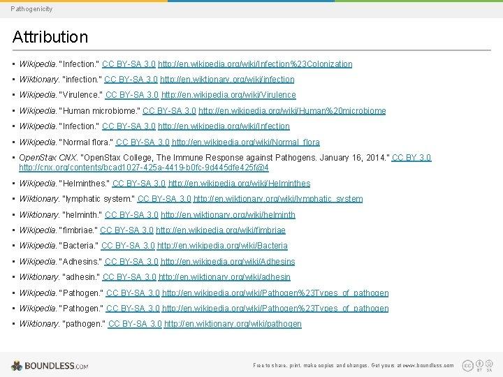 "Pathogenicity Attribution • Wikipedia. ""Infection. "" CC BY-SA 3. 0 http: //en. wikipedia. org/wiki/Infection%23"