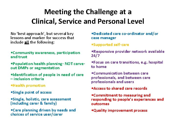 Meeting the Challenge at a Clinical, Service and Personal Level No 'best approach', but