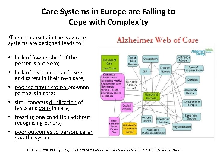 Care Systems in Europe are Failing to Cope with Complexity • The complexity in