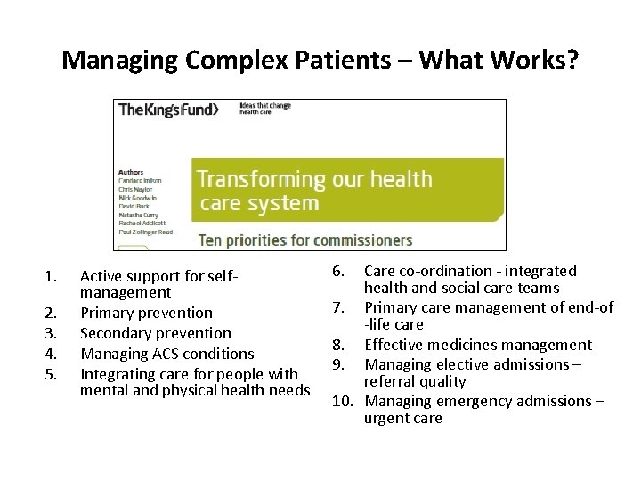 Managing Complex Patients – What Works? 1. 2. 3. 4. 5. Active support for