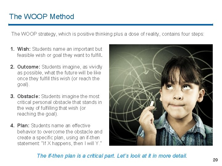 The WOOP Method The WOOP strategy, which is positive thinking plus a dose of