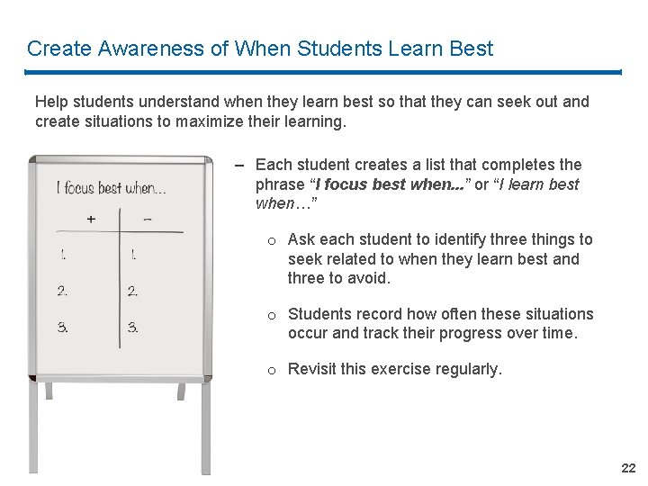Create Awareness of When Students Learn Best Help students understand when they learn best