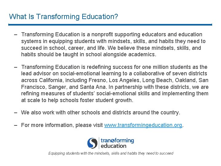 What Is Transforming Education? – Transforming Education is a nonprofit supporting educators and education