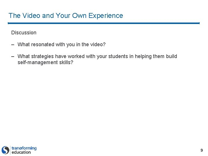 The Video and Your Own Experience Discussion – What resonated with you in the