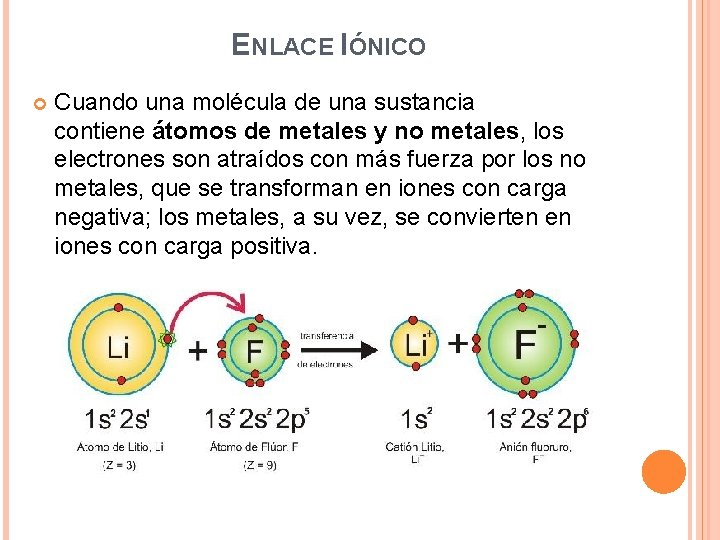 ENLACE IÓNICO Cuando una molécula de una sustancia contiene átomos de metales y no