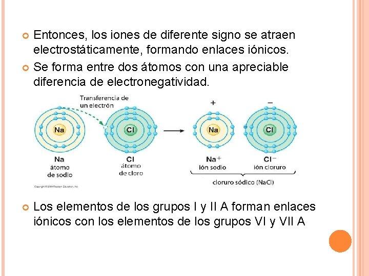 Entonces, los iones de diferente signo se atraen electrostáticamente, formando enlaces iónicos. Se forma