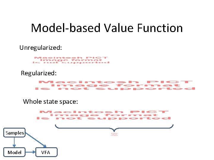 Model-based Value Function Unregularized: Regularized: Whole state space: Samples Model VFA