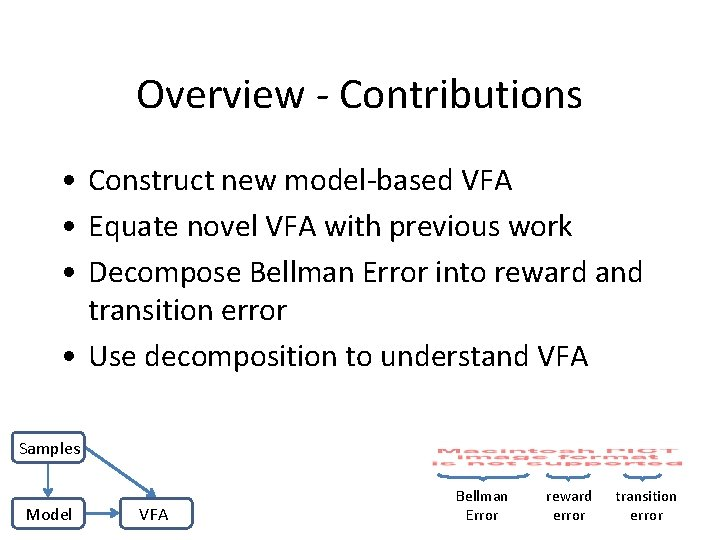 Overview - Contributions • Construct new model-based VFA • Equate novel VFA with previous