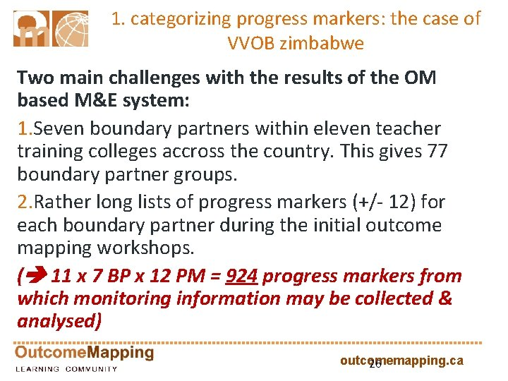 1. categorizing progress markers: the case of VVOB zimbabwe Two main challenges with the