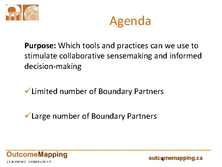 Agenda Purpose: Which tools and practices can we use to stimulate collaborative sensemaking and
