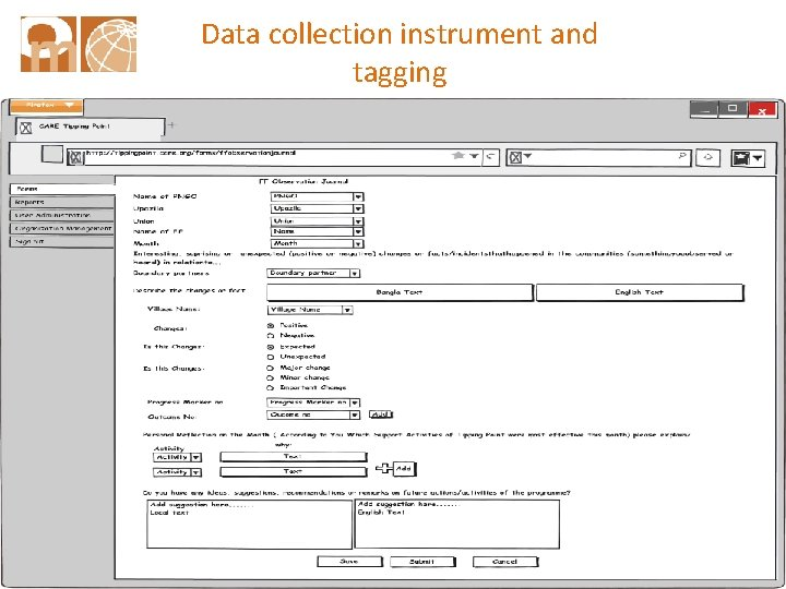 Data collection instrument and tagging outcomemapping. ca 42