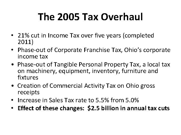The 2005 Tax Overhaul • 21% cut in Income Tax over five years (completed