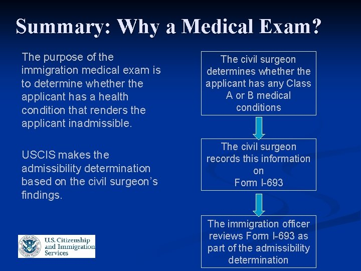 Summary: Why a Medical Exam? The purpose of the immigration medical exam is to