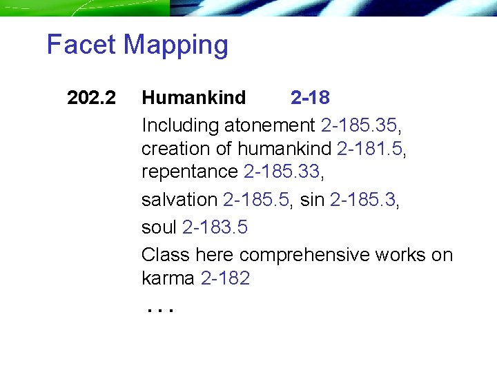 Facet Mapping 202. 2 Humankind 2 -18 Including atonement 2 -185. 35, creation of