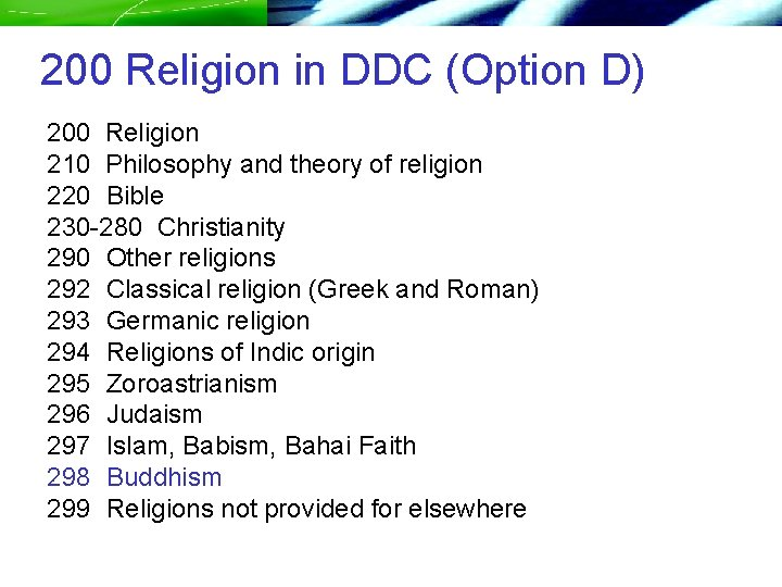 200 Religion in DDC (Option D) 200 Religion 210 Philosophy and theory of religion