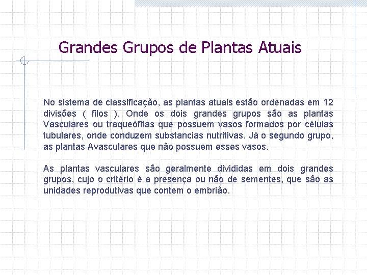 Grandes Grupos de Plantas Atuais No sistema de classificação, as plantas atuais estão ordenadas
