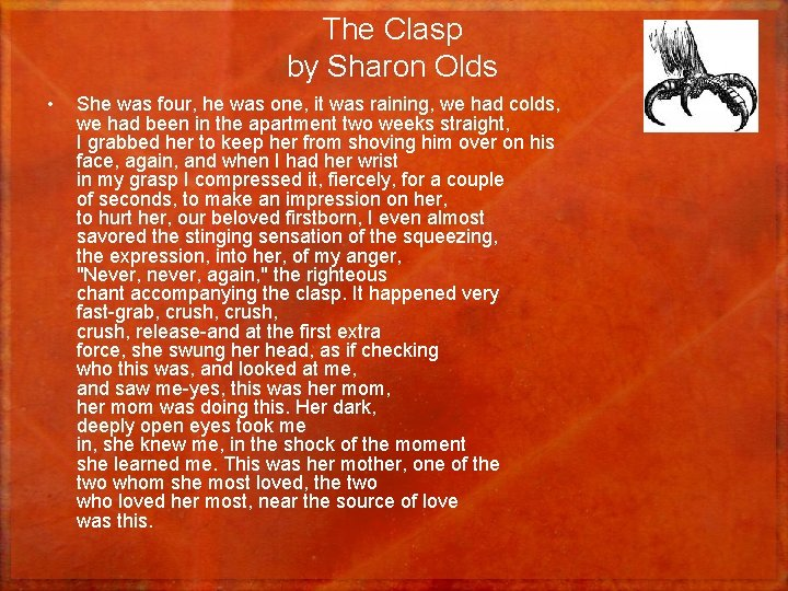 The Clasp by Sharon Olds • She was four, he was one, it was