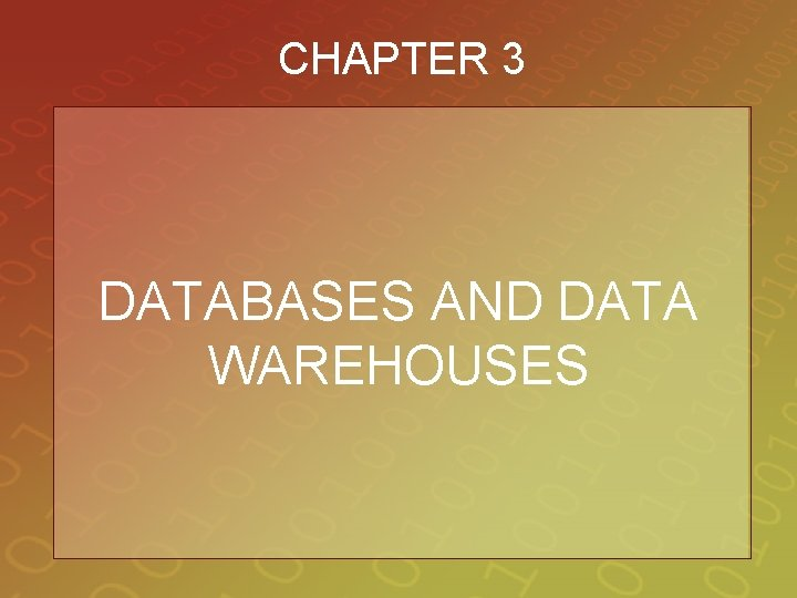 CHAPTER 3 DATABASES AND DATA WAREHOUSES
