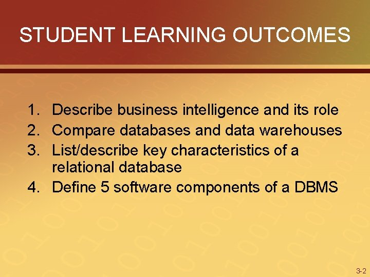 STUDENT LEARNING OUTCOMES 1. Describe business intelligence and its role 2. Compare databases and