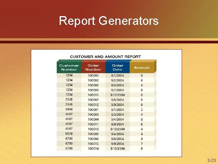 Report Generators 3 -23