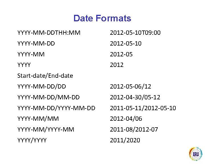Date Formats YYYY-MM-DDTHH: MM 2012 -05 -10 T 09: 00 YYYY-MM-DD 2012 -05 -10