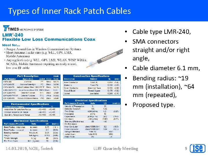 Types of Inner Rack Patch Cables • Cable type LMR-240, • SMA connectors straight