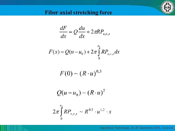 Fiber axial stretching force Separation Techniques, 26 -28 September 2016, Valencia