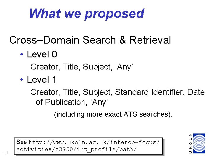 What we proposed Cross–Domain Search & Retrieval • Level 0 Creator, Title, Subject, 'Any'