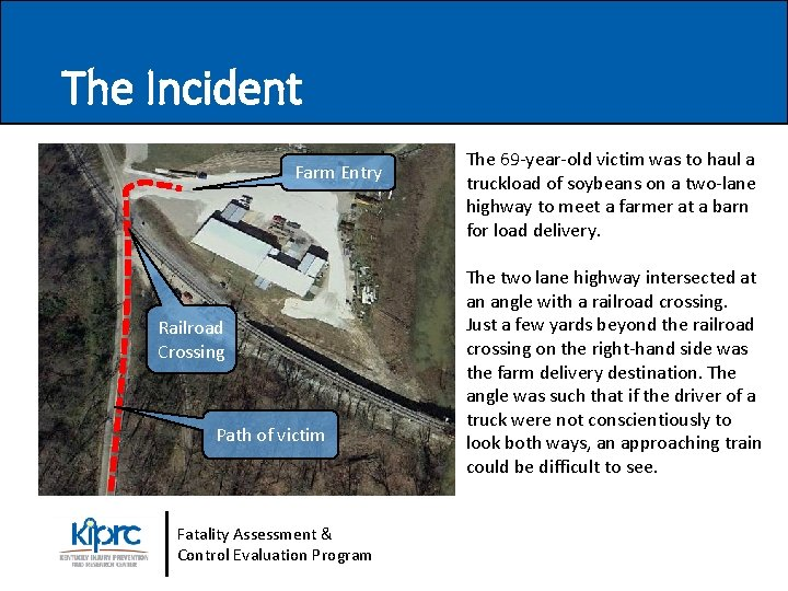 The Incident Farm Entry Railroad Crossing Path of victim Fatality Assessment & Control Evaluation