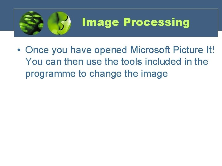 Image Processing • Once you have opened Microsoft Picture It! You can then use