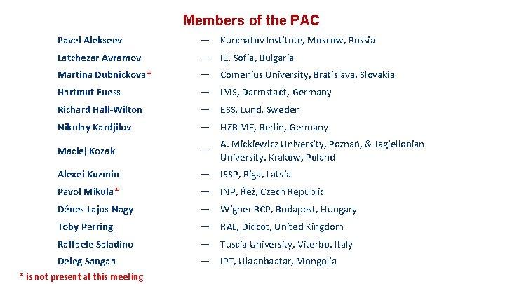 Members of the PAC Pavel Alekseev — Kurchatov Institute, Moscow, Russia Latchezar Avramov —