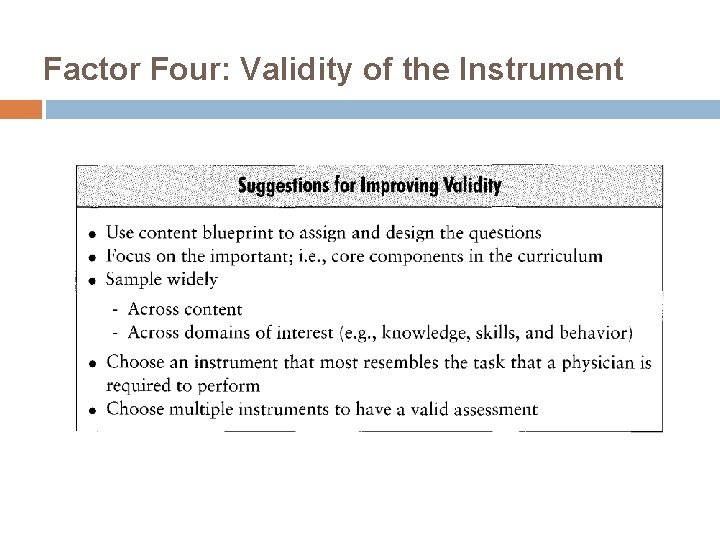Factor Four: Validity of the Instrument