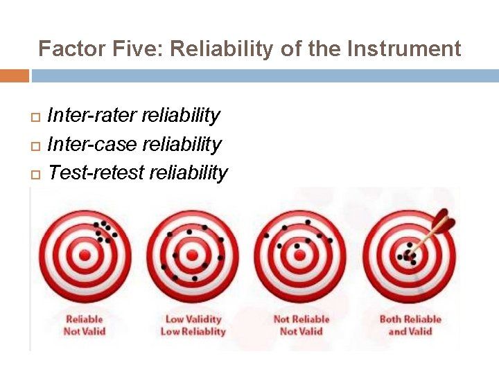 Factor Five: Reliability of the Instrument Inter-rater reliability Inter-case reliability Test-retest reliability