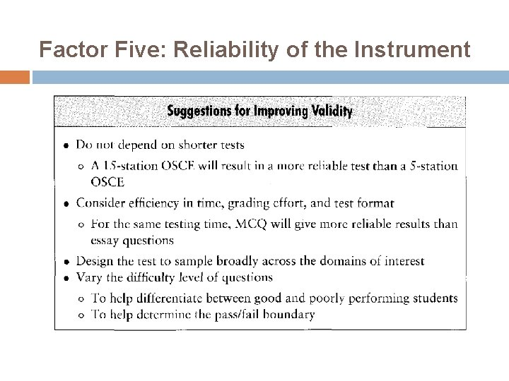 Factor Five: Reliability of the Instrument