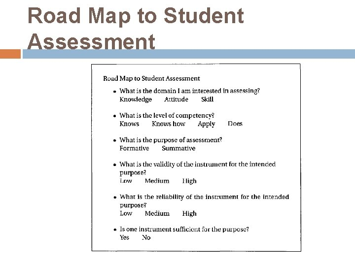 Road Map to Student Assessment