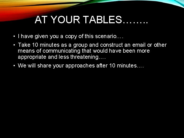 AT YOUR TABLES……. . • I have given you a copy of this scenario….