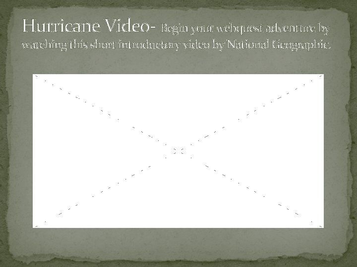 Hurricane Video- Begin your webquest adventure by watching this short introductory video by National