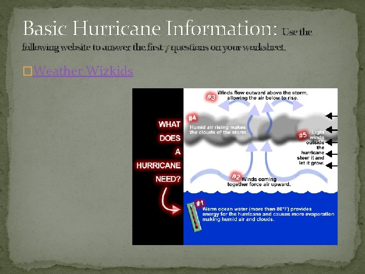 Basic Hurricane Information: Use the following website to answer the first 7 questions on