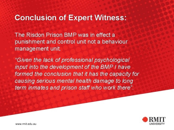 Conclusion of Expert Witness: The Risdon Prison BMP was in effect a punishment and
