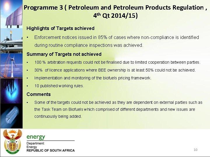 Programme 3 ( Petroleum and Petroleum Products Regulation , 4 th Qt 2014/15) Highlights