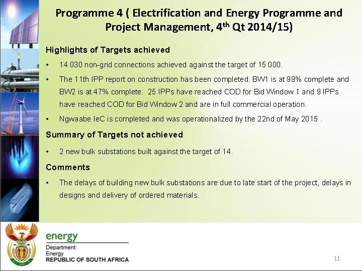 Programme 4 ( Electrification and Energy Programme and Project Management, 4 th Qt 2014/15)