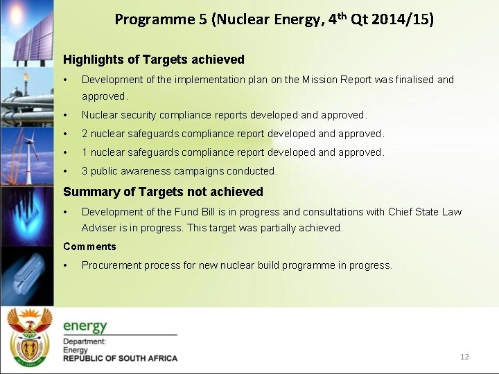 Programme 5 (Nuclear Energy, 4 th Qt 2014/15) Highlights of Targets achieved • Development