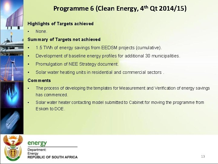 Programme 6 (Clean Energy, 4 th Qt 2014/15) Highlights of Targets achieved • None.