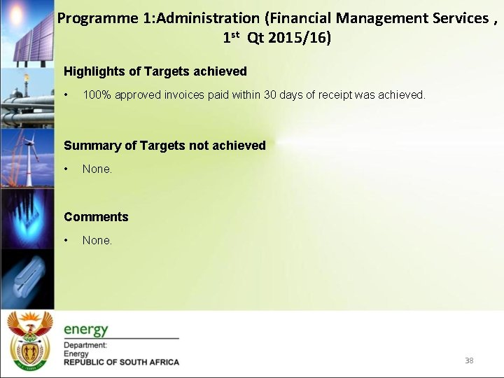 Programme 1: Administration (Financial Management Services , 1 st Qt 2015/16) Highlights of Targets